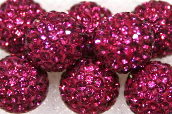 10mm Fuchsia Pink 115 Stone  Pave Crystal Beads- 2 Hole PCB10-115-024